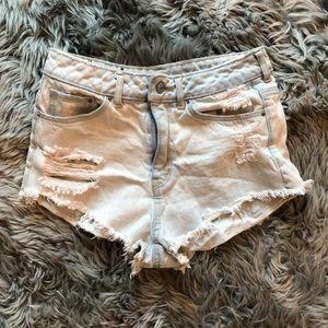 H&M light blue washed distressed denim shorts